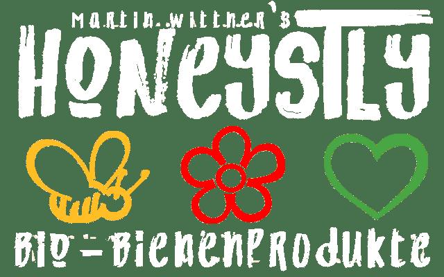 Honeystly Logo mit Bienen und Blüten